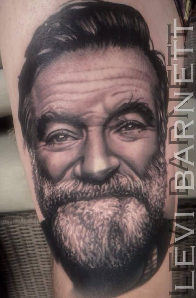 Portrait Real Looking Men Face Tattoo Design By Levi Barnett