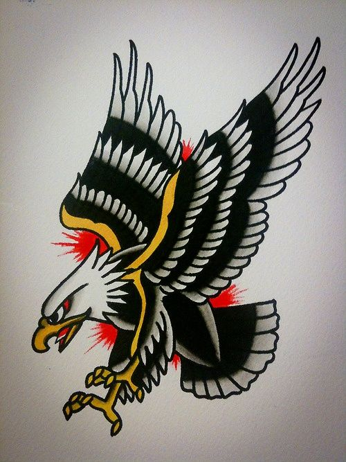Pouncing Black And White Nice Eagle Old School Tattoo Design