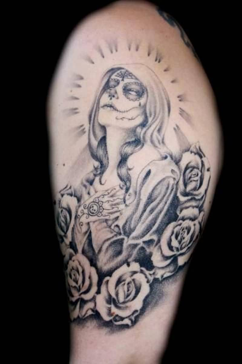 Praying Catrina Girl With Nice Red Roses Tattoo Design For Sleeve