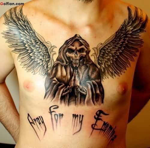 Praying Skeleton In Angel Wings Horrible Tattoo For Men
