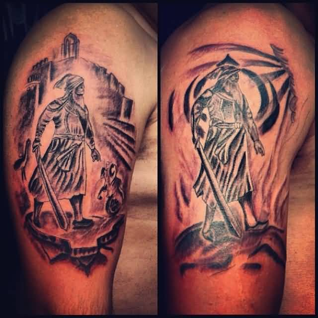 Punjabi Khanda With Baba Deep Singh G Tattoo