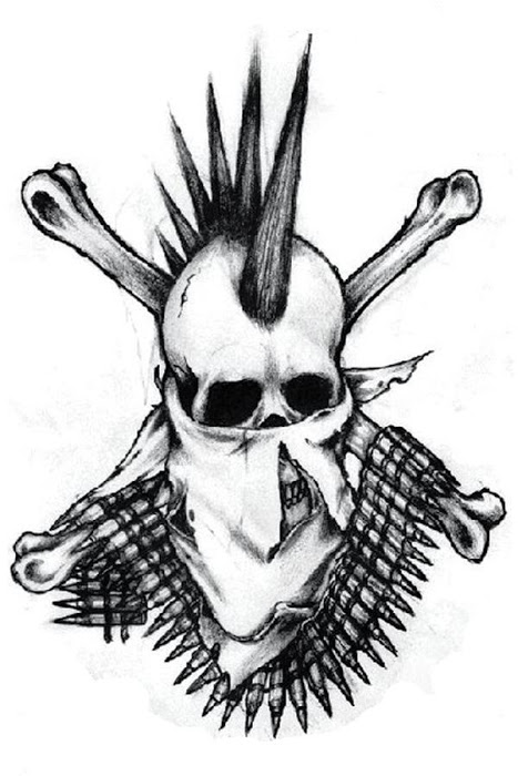 Punk Gangster Skull Tattoo Design