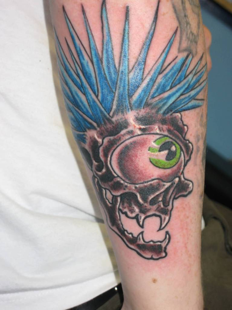 Punk Skull with Amazing Nice Blue Hairstyke Tattoo