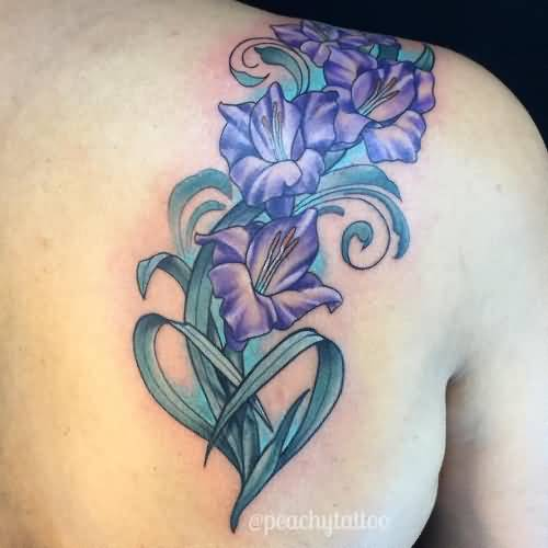 Purple Nice Gladiolus Flower Tattoo Design Idea On Upper Back