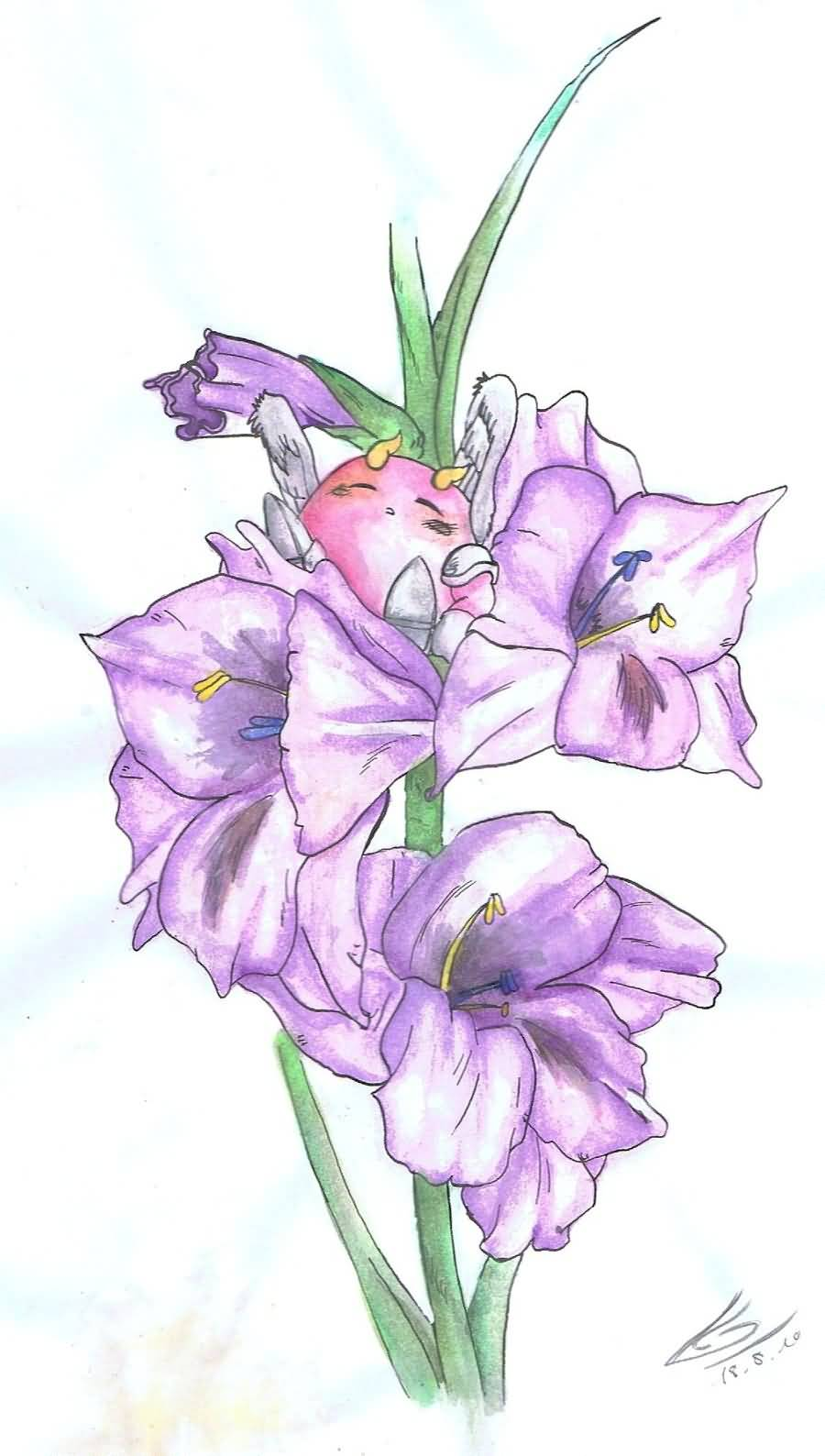 Purple Nice Gladiolus Flower Tattoo Design Sketch