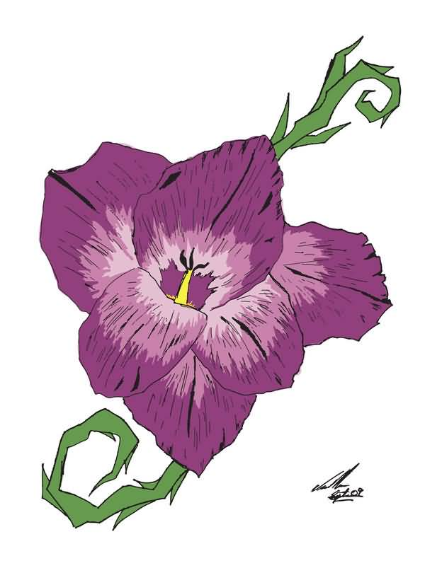 Purple Nice Gladiolus Flower Tattoo Design Stencil