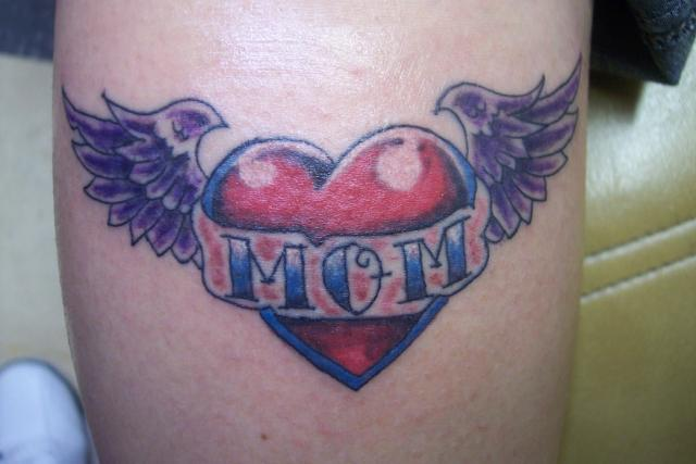 Purple Wings Nice Mom Banner Love Heart Tattoo