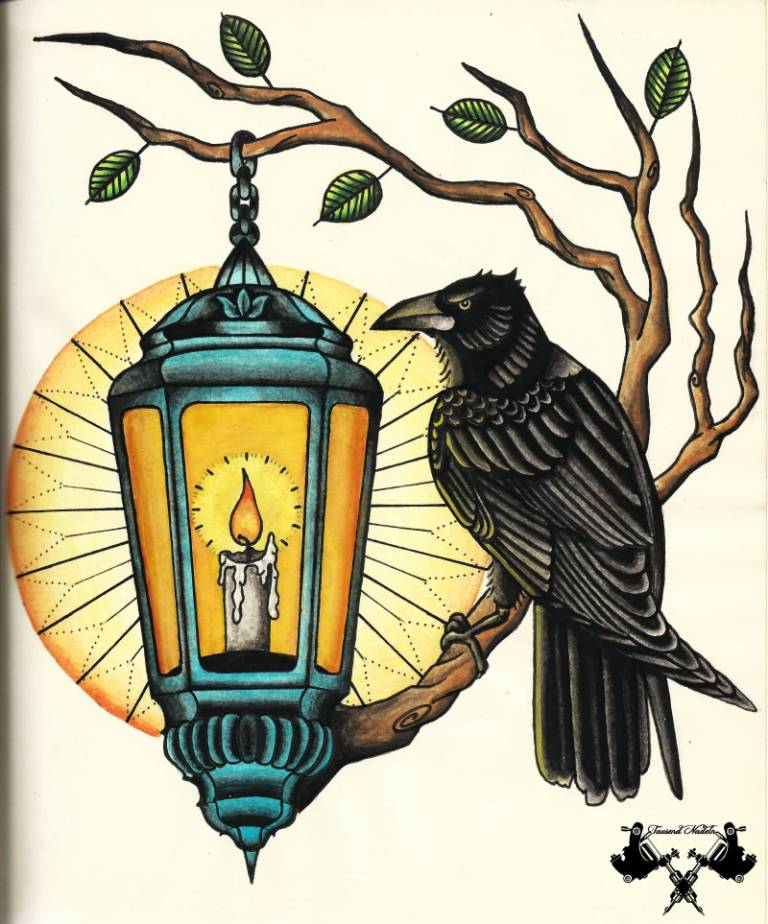Raven On Tree With Burning Candle Lantern Tattoo