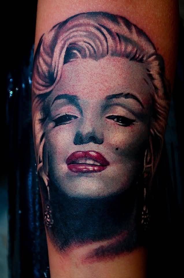 Real Awesome Marilyn Monroe Tattoo Of Face