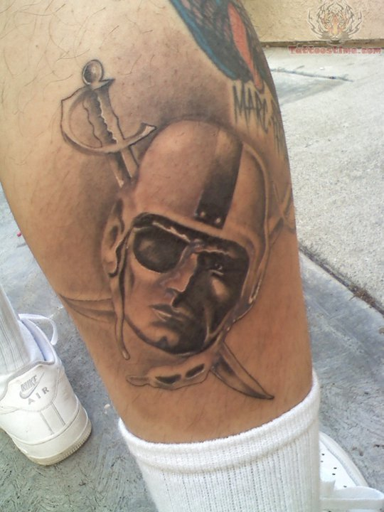 Real Look Amazing Oakland Raiders Tattoo On Leg