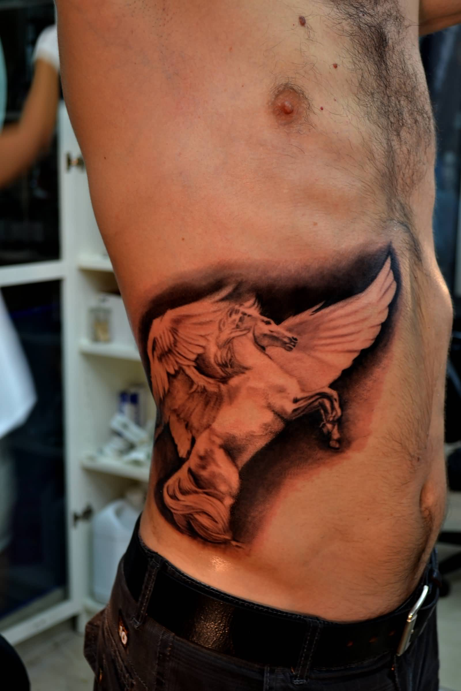Real Look Nice Dark Black And Grey Ink Pegasus Tattoo For Men
