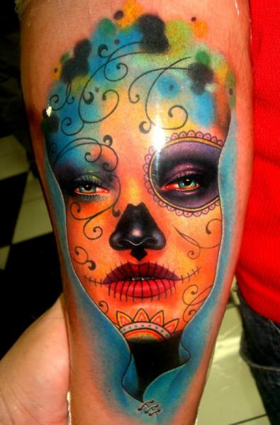 Real Look Nice Latino Girl Face Tattoo Design Idea