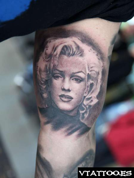 Real Look Nice Marilyn Monroe Girl Face Tattoo