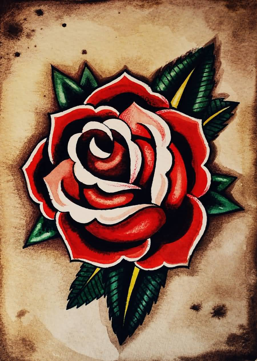 Real Look Nice Old School Flower Tattoo Design Stencil