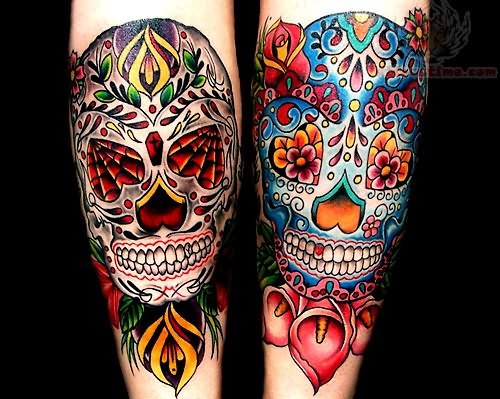 Real Look Nice Old School Sugar Skulls Tattoo