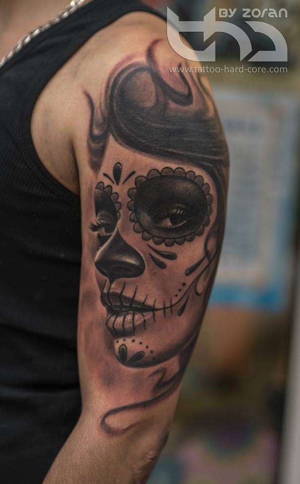 Real Look Upper Sleeve Nice Latino Girl Catrina Tattoo