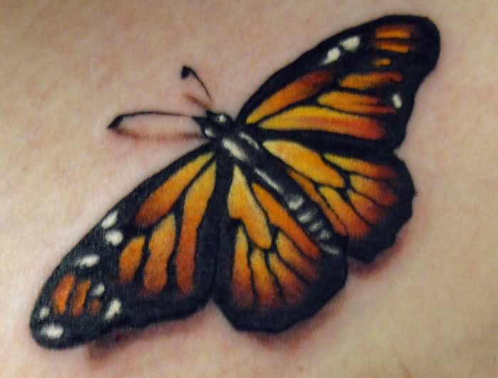 Real Looking Monarch Butterfly Tattoo Design