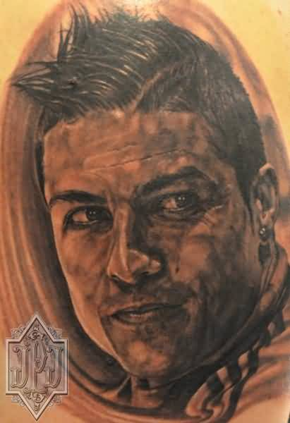 Realistic 3D Real Madrid Ronaldo Player Face Tattoo
