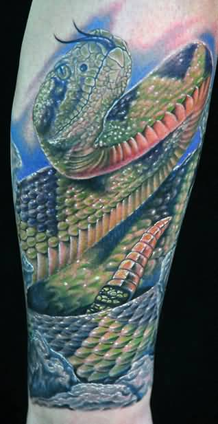 Realistic 3d Reptile Snake Tattoo By Green Ink