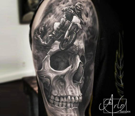 Realistic 3d Skull Sport Bicycle Bike Tattoo On Upper Sleeve