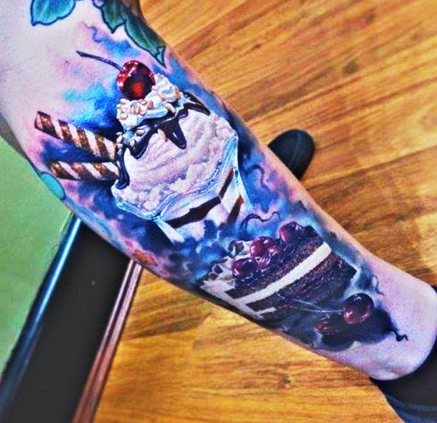 Realistic And Nice Ice Cream Sundae Tattoo On Leg