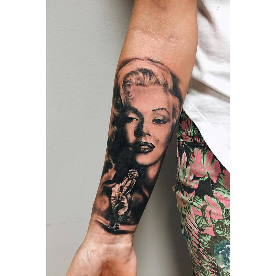 Realistic And Nice Marilyn Monroe Face Tattoo Design Make On Forearm