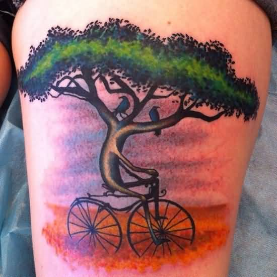Realistic Awesome Tree Brilliant Bicycle Tattoo Idea On Thigh