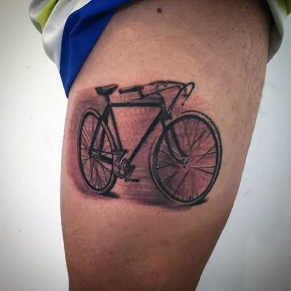 Realistic Bicycle Tattoo Design Idea On Men Thigh