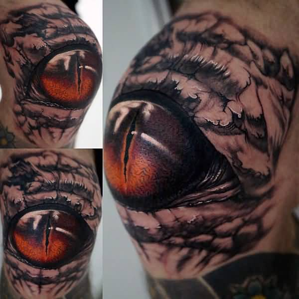 Realistic Big Reptile Eye Tattoo On Shoulder