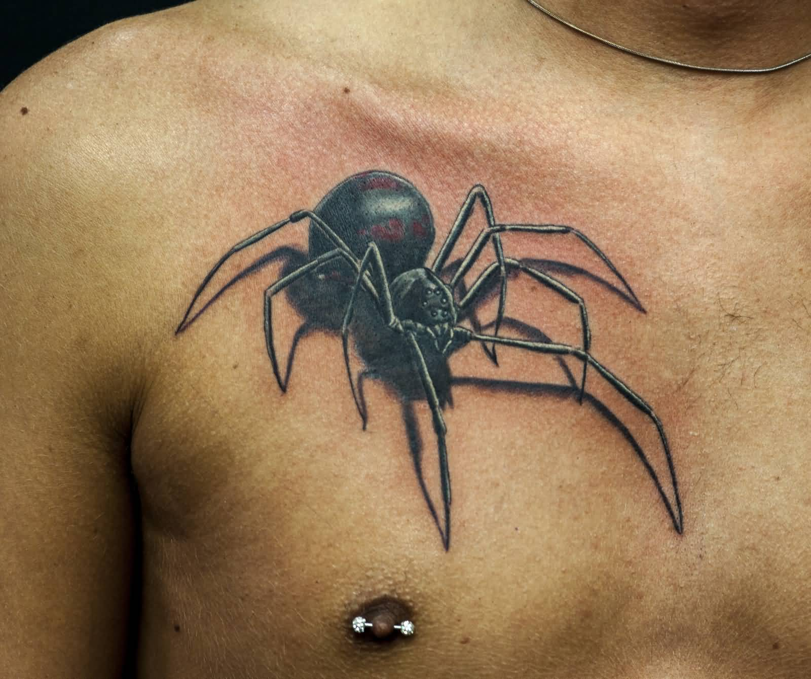 Realistic Black Widow Spider Tattoo On Men Chest