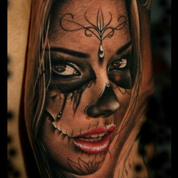 Realistic Catrina Face Of Girl Tattoo Design Idea