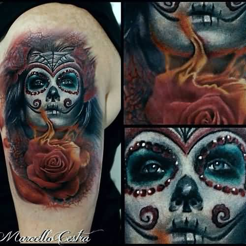 Realistic Catrina Face With Awesome Rose Tattoo Design On Half Sleeve
