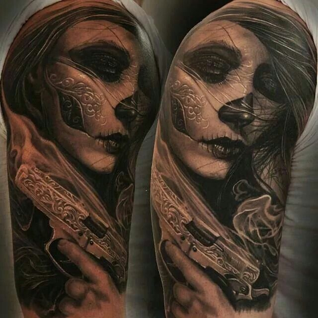 Realistic Catrina Girl Face With Gun Tattoo Design Idea