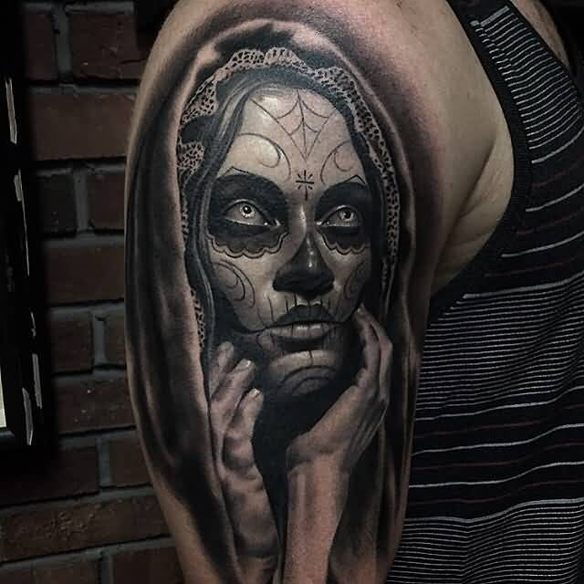 Realistic Catrina Tattoo Of Girl Scary Face
