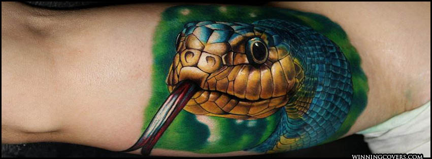 Realistic Face Of Reptile Cobra Snake Tattoo
