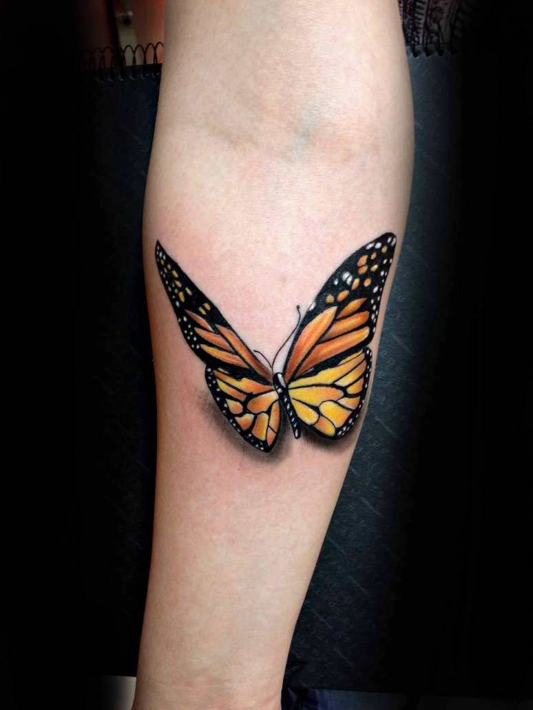 Realistic Forarm 3D Monarch Butterfly Tattoo