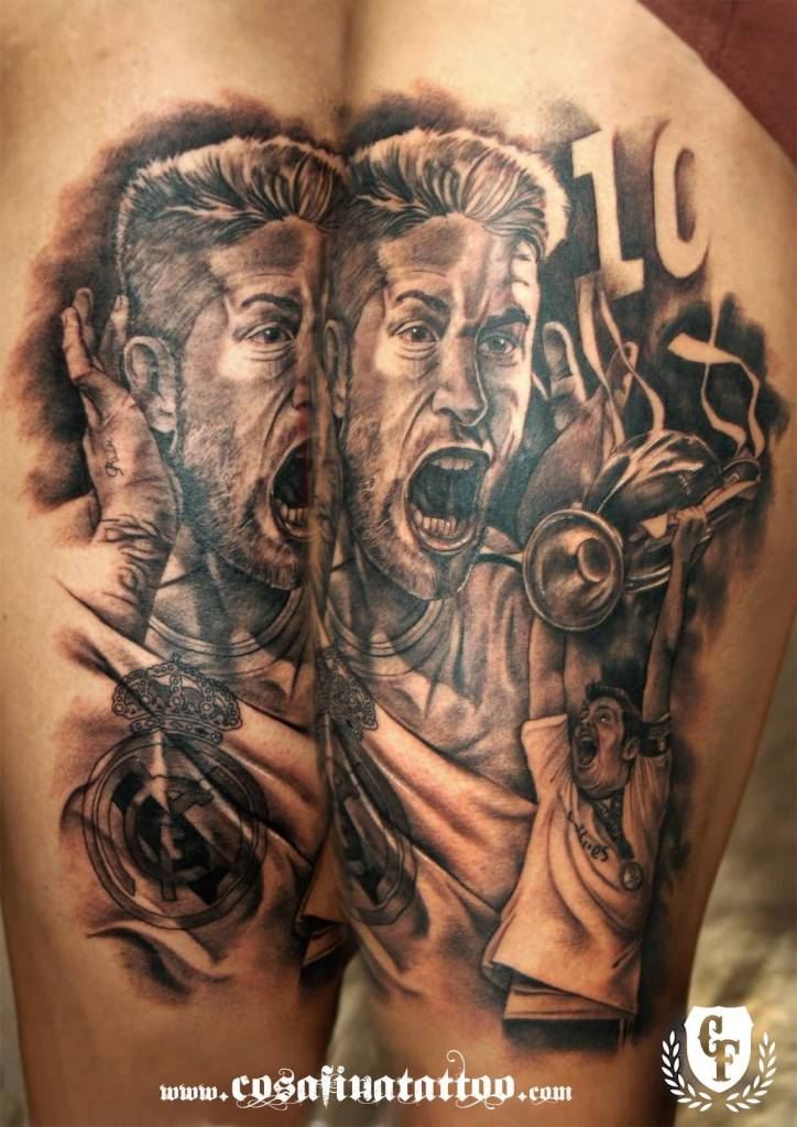 Realistic Grey Ink Real Madrid Theme Tattoo