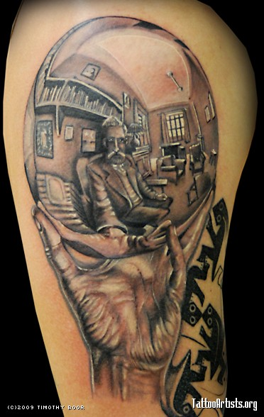 Realistic Hand Hold Escher Portrait Sleeve Tattoo