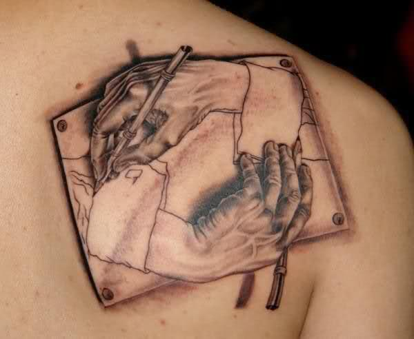 Realistic Hands Drawing Escher Tattoo On Back Shoulder