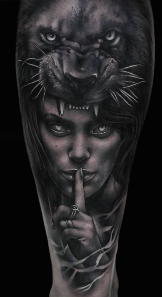 Realistic Lion Face With Nice Girl Puma Tattoo