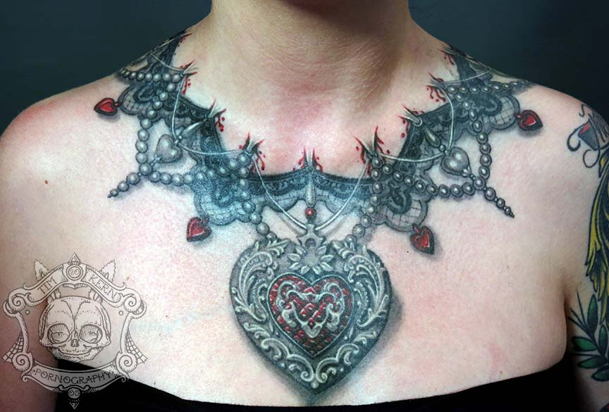 Realistic Look 3d Amazing Heart Chain Necklace Tattoo