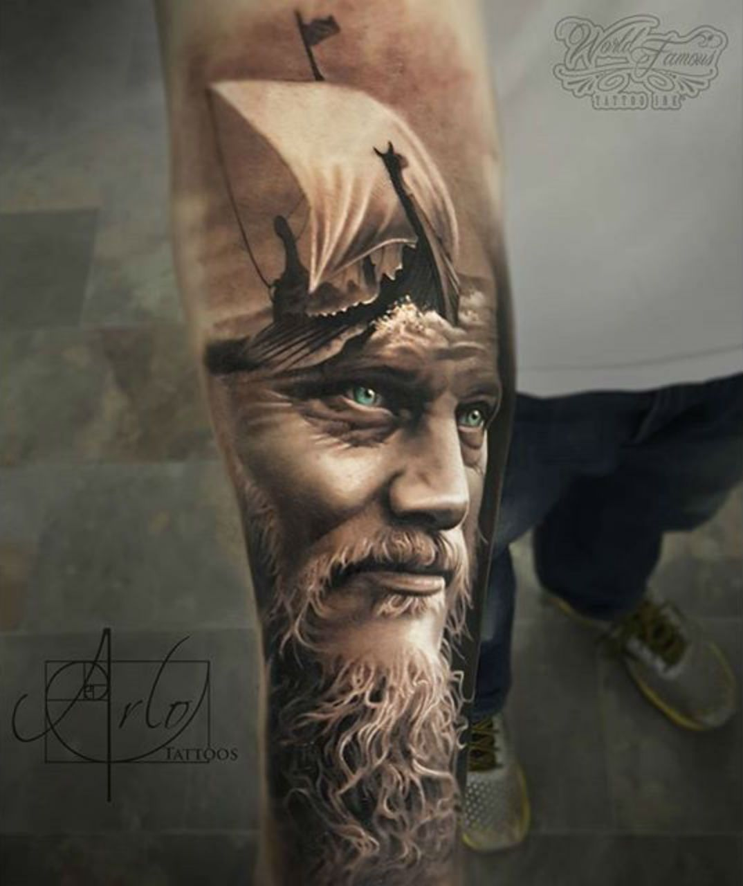 Realistic Look Of Awesome Historical Men Face Tattoo Design