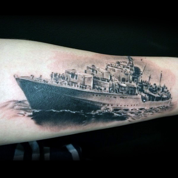 Realistic Navy Grey Ink Ship Tattoo Design