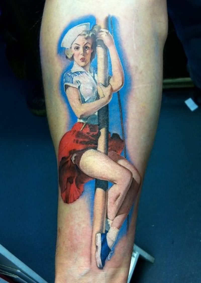 Realistic Pin Up Girl Tattoo Design