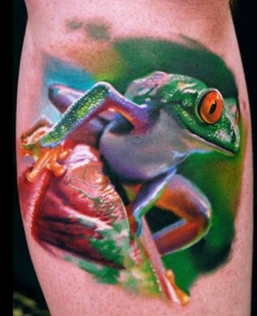 Realistic Reptile Green Frog Tattoo
