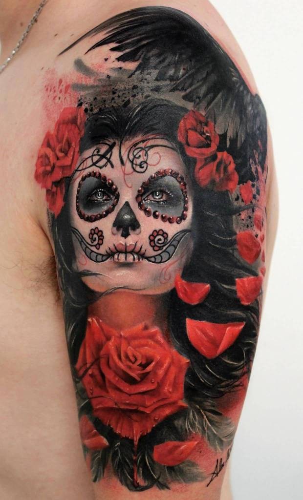 Realistic Rose With Latino Catrina Girl Face Tattoo On Men Half Sleeve