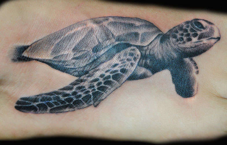 Realistic Sea Creature Turtle Tattoo On Girl Foot