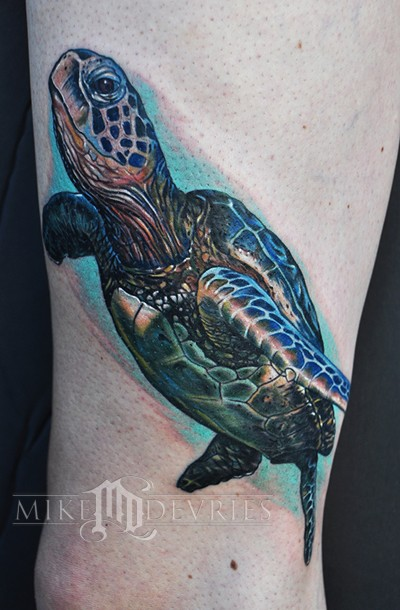Realistic Sea Creature Turtle Tattoo
