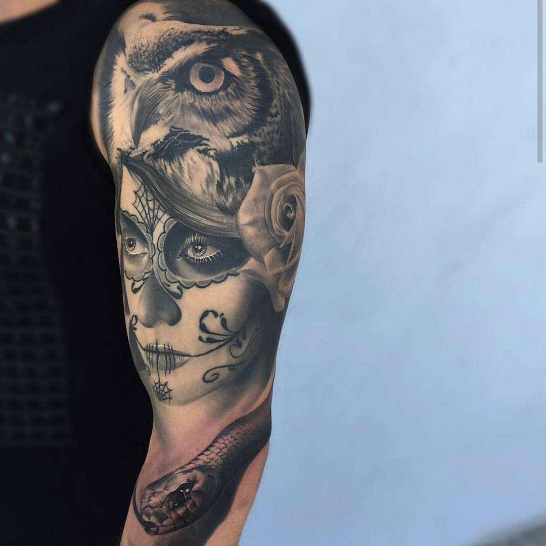 Realistic Snake With Owl And Catrina Tattoo On Half Sleeve