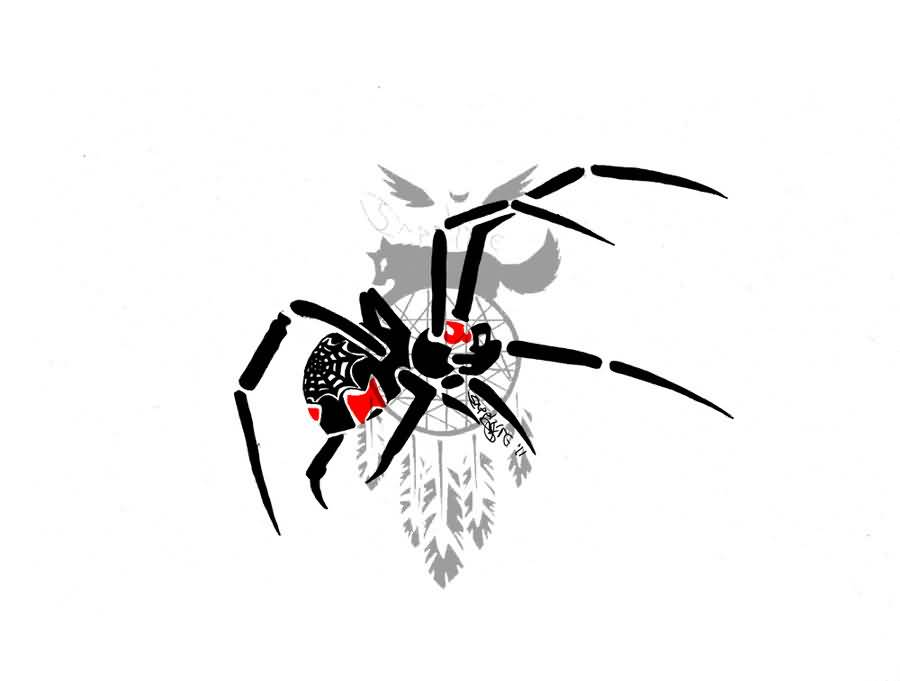 Red And Black Nice One Black Widow Spider Tattoo Drawing